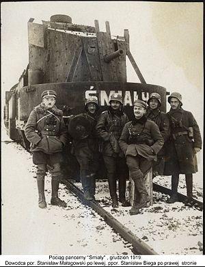Śmiały (armoured train) - The armoured train Śmiały in December 1919