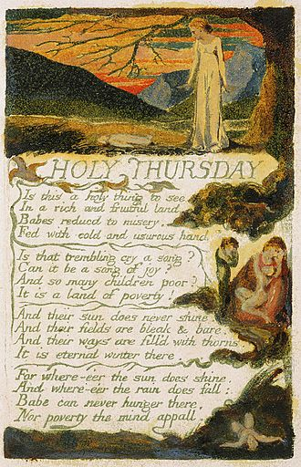 Feast of the Ascension - William Blake's 1794 poem Holy Thursday, i.e. Ascension Day, from his work Songs of Innocence and of Experience. This image depicts copy F of the illustration currently held by the Yale Center for British Art.