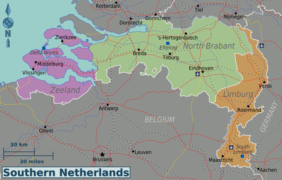 Map Of The Netherlands And Germany.Southern Netherlands Travel Guide At Wikivoyage