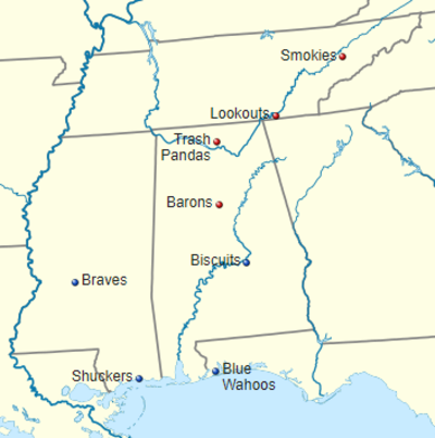 Map of current Southern League teams