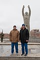 Soyuz MS-08 backup crew in front of a statue of Yuri Gagarin.jpg