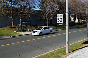 Speed limit - A speed limit sign in Ontario