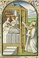 St. Nicholas, Bishop of Myra, gives secretly dowries to three poor girls - Book of hours Simon de Varie - KB 74 G37 - 084r min.jpg