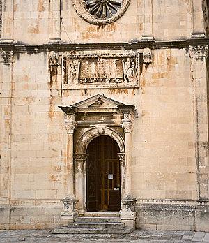 St. Saviour Church, Dubrovnik - the main entrance with the inscription above