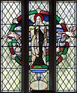 Pega - Stained glass window depicting Saint Pega in Peakirk church