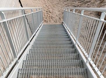 Stairs to observation deck at Nørre Vorupør Strand.jpg