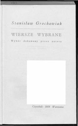 Wiersze Wybrane Grochowiak 1978całość Wikiźródła