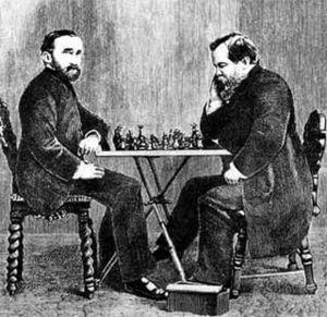 World Chess Championship 1886 - Zukertort and Steinitz, New Orleans 1886 (engraving)