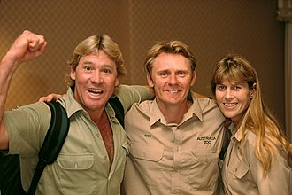Terri Irwin - Terri (right) and Steve Irwin (left) with Wes Mannion (center)