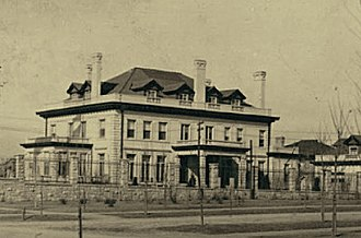 Humboldt Street Historic District - Stoiber Mansion, 1908, just after restoration of the basement swimming pool, third-floor dormers, and the bowling alley. Photograph by Charles S. Price, Denver Public Library