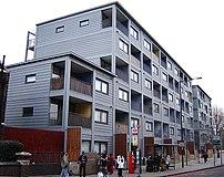Raines Court, a multi-story modular housing bl...
