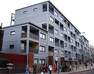 Modular building - Raines Court is a multi-story modular housing block in Stoke Newington, London, one of the first two residential buildings in Britain of this type. (December 2005)