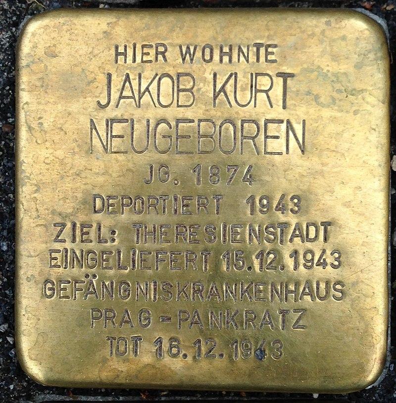 Stolperstein Kleve Große Straße 90 Jakob Kurt Neugeboren