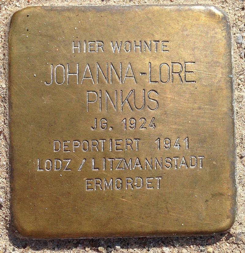 Stolperstein Penzlin Bahnhofstraße 14a Johanna-Lore Pinkus