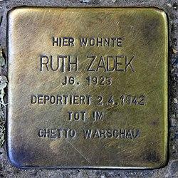 Photo of Ruth Zadek brass plaque