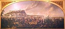 enkadrigita pentraĵo prezentas marsoldatojn kaj soldatbataladmeksikanojn en la fundamento de Chapultapec Castle