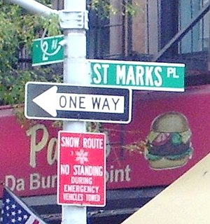 Streetsign at the corner of St Marks Place and...