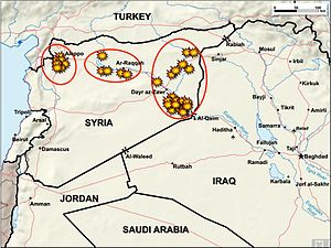 American-led intervention in the Syrian Civil War - Map of the first round of U.S. and coalition strikes in Syria