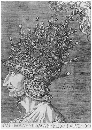 Agostino Veneziano's engraving of Ottoman emperor Suleiman the Magnificent wearing his Venetian Helmet. Note the four tiers on the helmet, symbolizing his imperial power, and excelling the three-tiered papal tiara. This tiara was made for 115,000 ducats and offered to Suleiman by the French ambassador Antonio Rincon in 1532. This was a most atypical piece of headgear for a Turkish sultan, which he probably never normally wore, but which he placed beside him when receiving visitors, especially ambassadors. It was crowned with an enormous feather. Suleiman Agostino.JPG