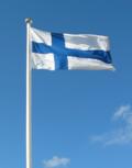 Det finske flagget har et blått kors på en hvit bakgrunn.