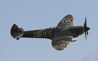 Supermarine Spitfire with 20 mm cannon protruding from the leading edge of the wing Supermarine Spitfire Mk XVI.jpg