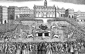 Capital punishment in France - François Damiens being dismembered for his attempted murder on Louis XV.