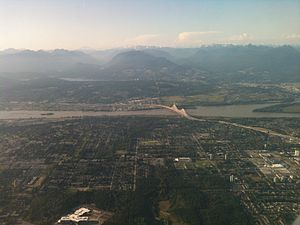 Surrey, British Columbia - Partial view of Surrey from a plane