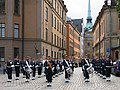 Swedish Army band performing at the end of the changing of the guard ceremony in Stockholm September 2015.jpg