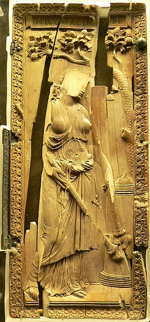 "Decline of Greco-Roman polytheism - Ivory diptych of a priestess of Ceres, in classical style, ca 400: the ""idol"" was defaced and thrown in a well at Montier-en-Der (later an abbey) where it was found. (Musée de Cluny)"