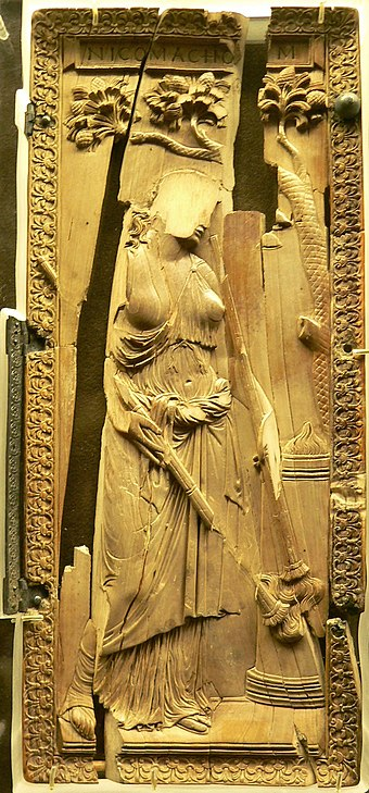 Ivory diptych of a priestess of Ceres, defaced and damaged by Christians Symmachi-Nicomachi diptych 2.JPG