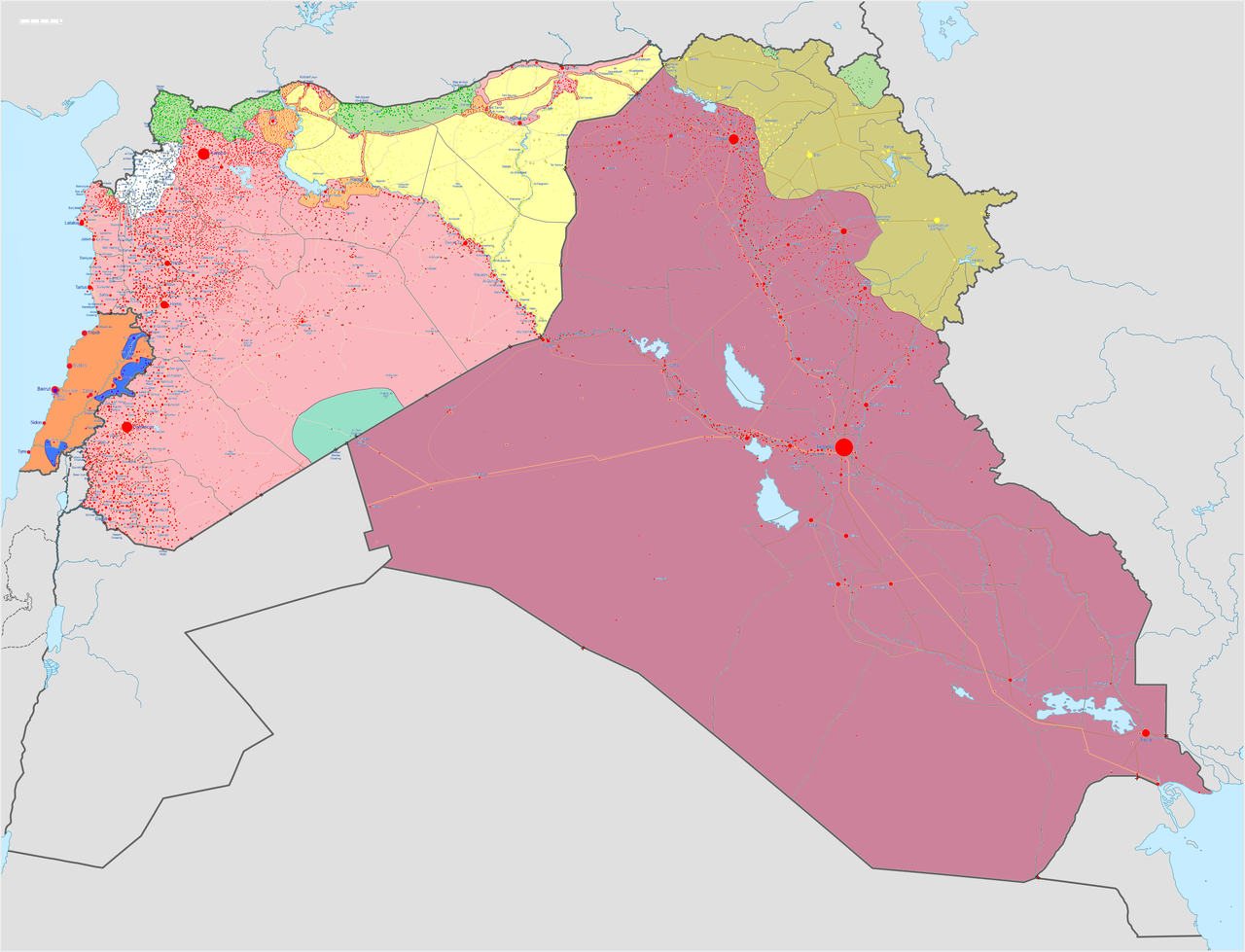 Military situation as of 24 June 2015, in the Iraqi, Syrian, and Lebanese conflicts.  Controlled by Iraqi Government forces  Controlled by Syrian Government forces  Controlled by the Lebanese Government  Controlled by the Islamic State of Iraq and the Levant  Controlled by Iraqi Kurdistan forces  Controlled by Syrian Kurdistan forces  Controlled by Syrian Opposition forces  Controlled by Hezbollah  Controlled by al-Nusra Front Note: Iraq and Syria contain large desert areas with limited populations. These areas are mapped as under the control of forces holding roads and towns within them. Detailed map of Syrian Civil WarDetailed map of Iraqi insurgencyDetailed map of Lebanese insurgencyDetailed map of Libyan Civil WarDetailed map of Yemeni Civil War