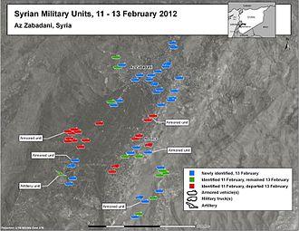 Battle of Zabadani (2012) - Image: Syrian Military Units 11 13 February 2012, Az Zabadani, Syria