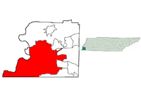 Location in Shelby County and the state of Tennessee