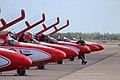 TS-11 SPARK Aerobatic team White-Red Sparks Danish Air Show 2014-06-22.jpg