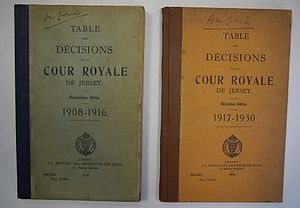 Law of Jersey - Tables de Décisions de la Cour Royal de Jersey 1885-1978