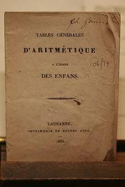 Arithmetic tables for children, Lausanne, 1835