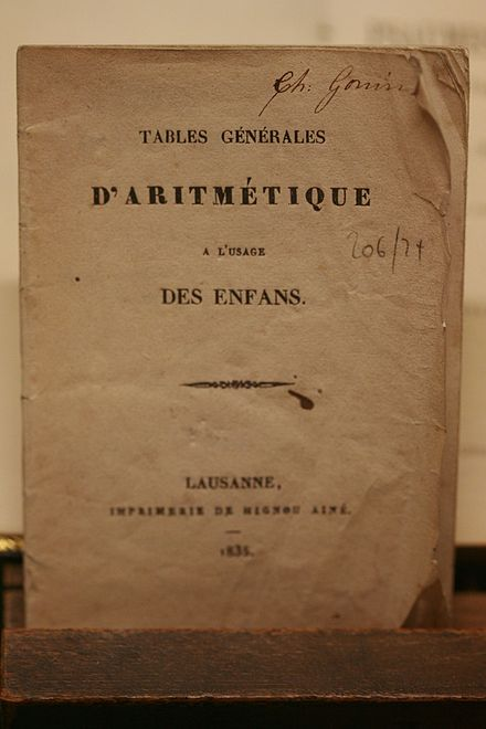 Arithmetic tables for children, Lausanne, 1835