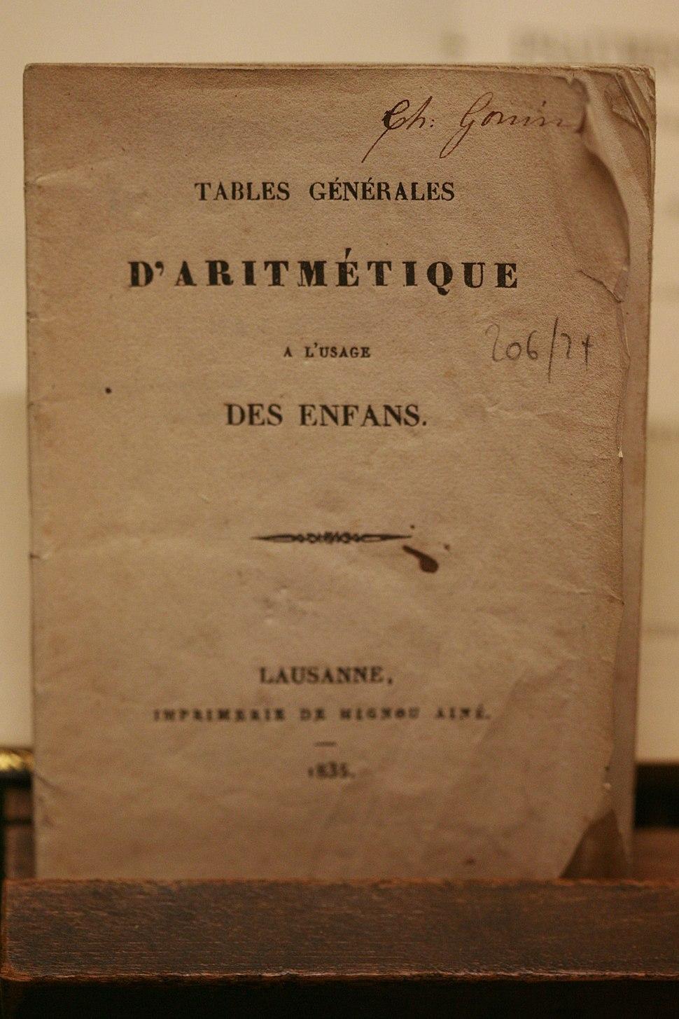 Tables generales aritmetique MG 2108