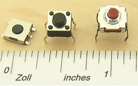 Three push button switches (Tactile Switches). Major scale is inches. Tactile switches.jpg