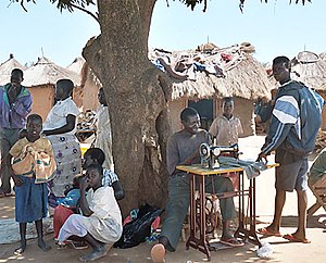 Internally displaced person - Tailor in Labuje IDP camp in Uganda.