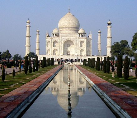 Taj Mahal mausoleum is completed. Taj Mahal (south view, 2006).jpg