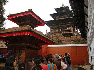 Dashain - People standing in queue to visit the Taleju Bhawani Mandir