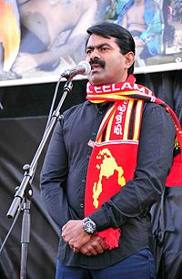 Tamil Eelam Champion Seeman Speech Outside UN headquarters Geneva 002.jpg