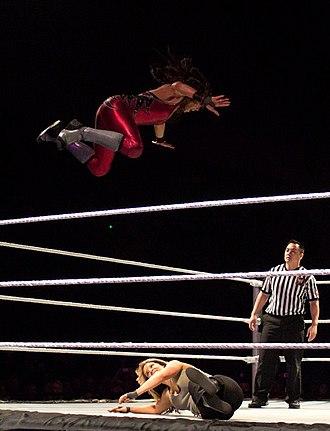 Tamina Snuka - Tamina performing the Superfly Splash on Kaitlyn