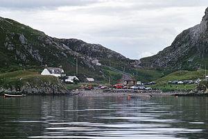 Tarbet, Sutherland - Tarbet seen from the Handa Island ferry in 1997