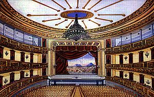 Carrera Theater (Guatemala) - Colón Theater stage. Painting from 1890.