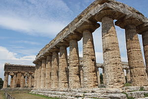 Doric order - Two early Archaic Doric order Greek temples at Paestum, Italy, with much wider capitals than later.