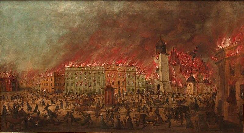 File:Teodor Baltazar Stachowicz - Pożar Krakowa, Rynek Główny, lipiec 1850.jpg
