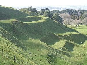 Auckland volcanic field - Terraces carved by Māori into the slopes of One Tree Hill