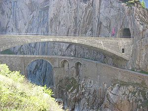 Growth of the Old Swiss Confederacy - The Devil's bridge was built in the 13th century to complete the road over the St. Gotthard Pass. The first stone bridge from the 16th century was damaged by war and destroyed by a flood in 1888. The image shows the second bridge built in 1826 and above it the third bridge from 1958.